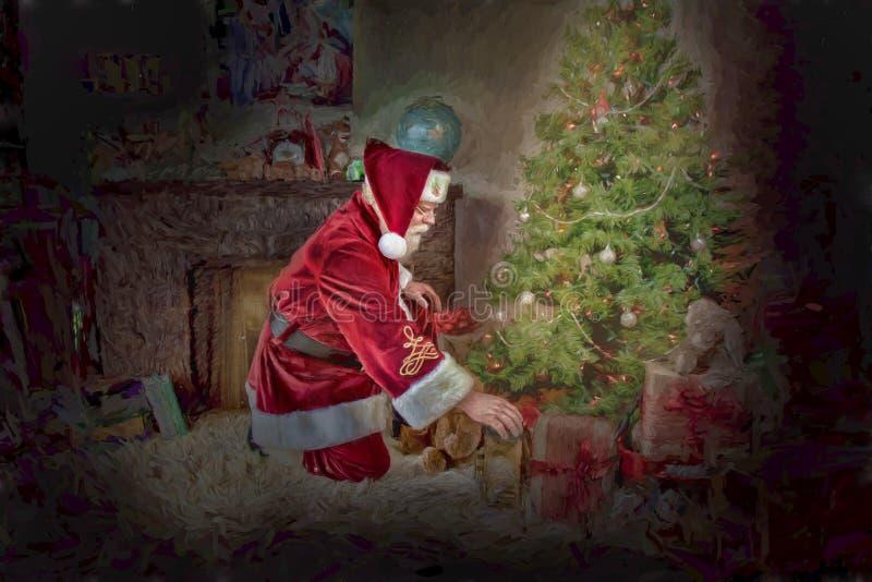 Drawing of Santa by Christmas tree royalty free stock photography