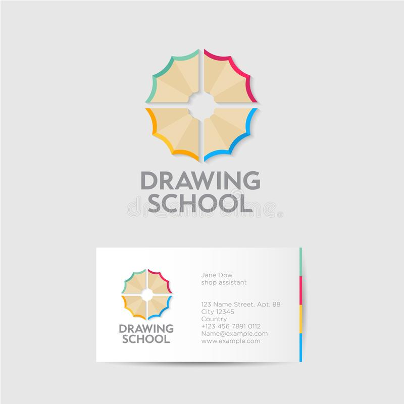 Drawing school logo and identity. Creativity emblems. Multi colored pencil shavings like a flower. royalty free illustration