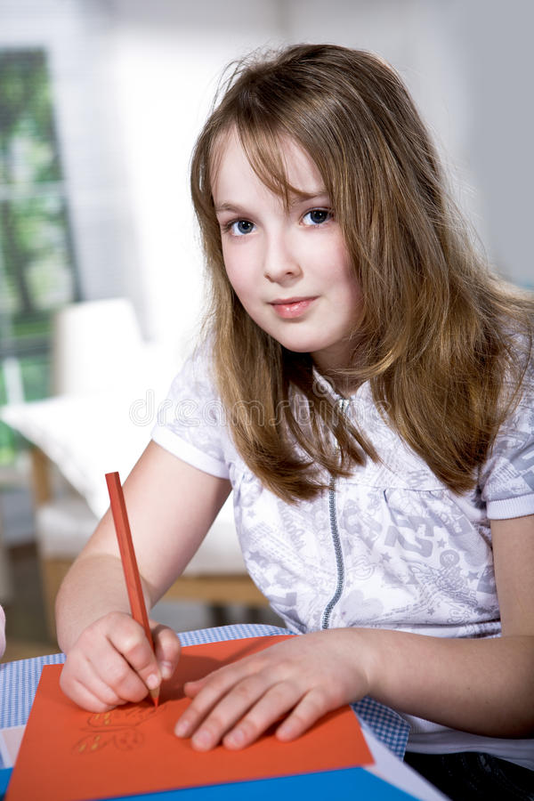 Download Drawing schoolgirl stock photo. Image of face, sitting - 19744244