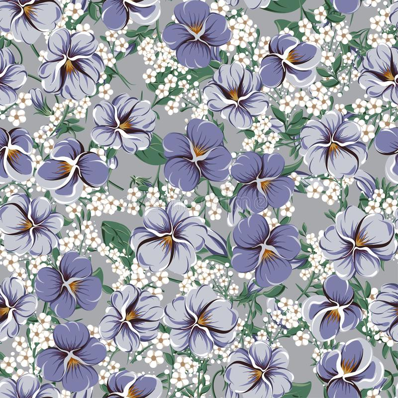 Drawing of seamless pattern with viola flowers royalty free illustration