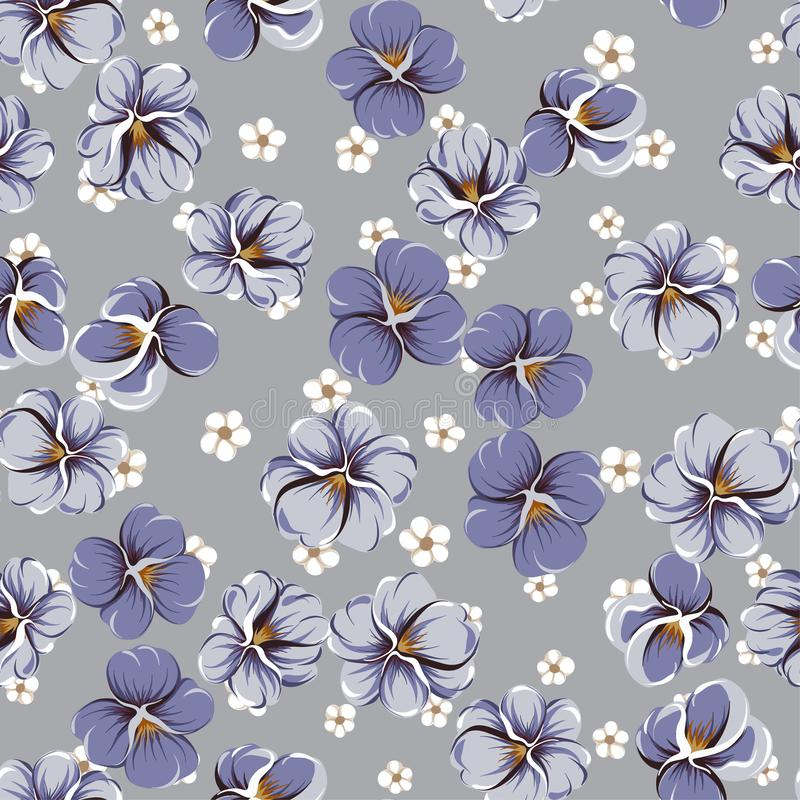 Drawing of seamless pattern with viola flowers stock illustration