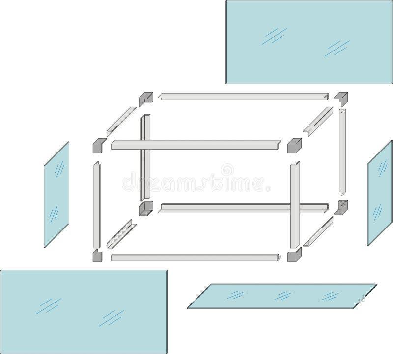 Download Drawing Of A Self-made Metal Aquarium - Vector Stock Vector - Image: 10205873