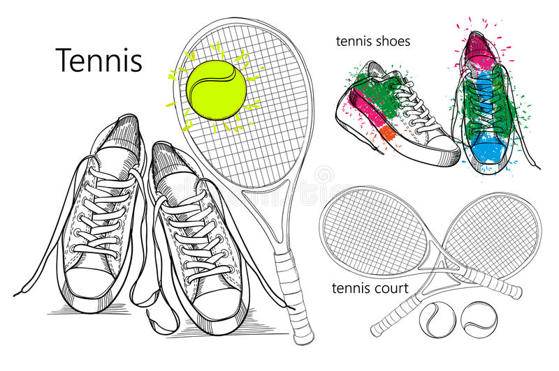Drawing Set of objects sneakers with tennis racquet and ball, tennis court. Hand drawn and doodle footwear for. Vector illustraton of drawing Set of objects stock illustration