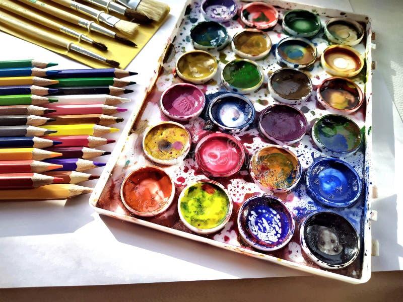 Drawing set . Pencils, brushes, karas. artistic, color, royalty free stock photo