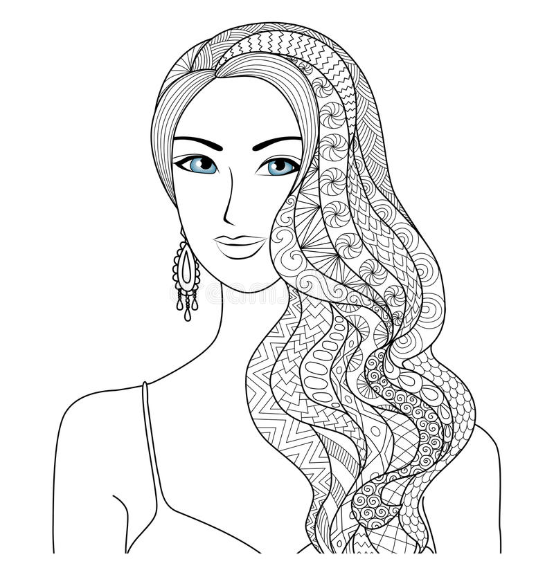 Drawing woman zentangle hair style for coloring book for adult stock illustration