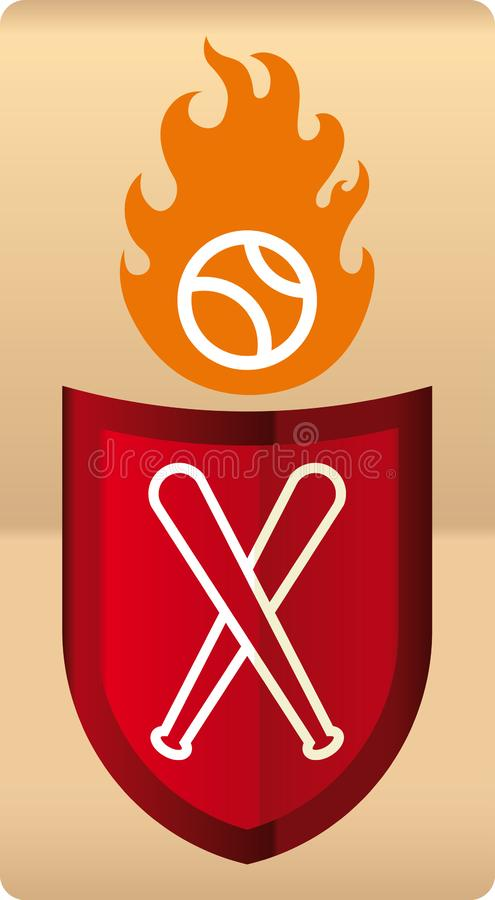 Drawing of shiny baseball shield with ball in flames. vector illustration