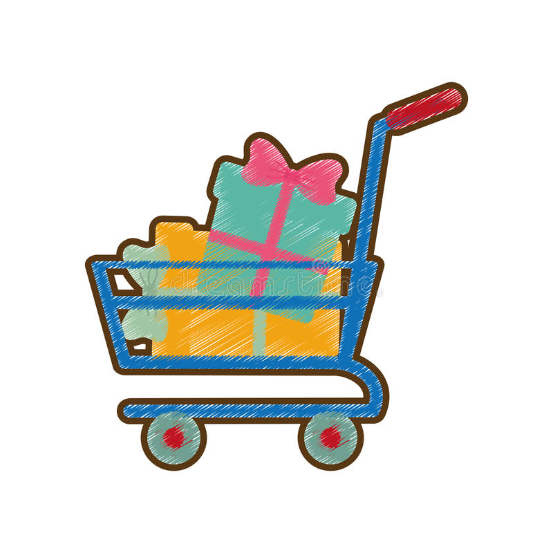 Drawing shopping cart online boxes gift stock illustration