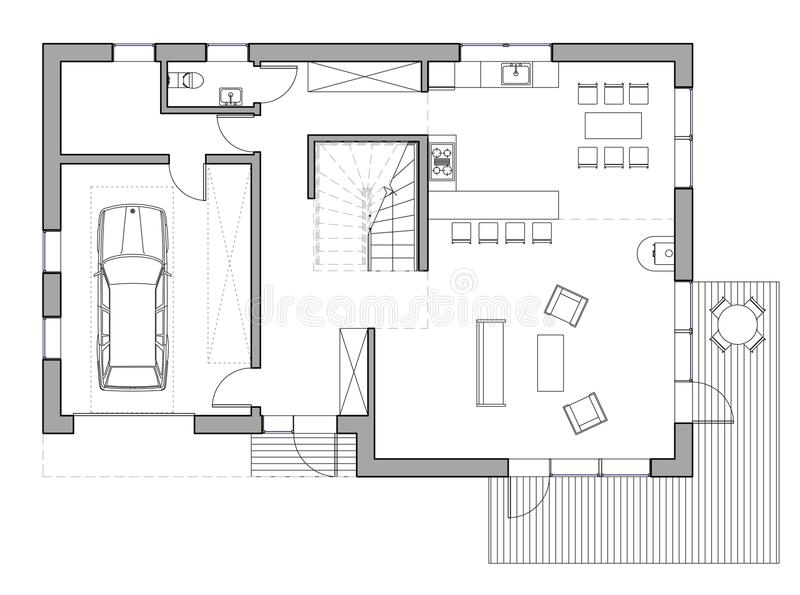 Drawing: single family house. Drawing: the floor plan of the single family house stock illustration