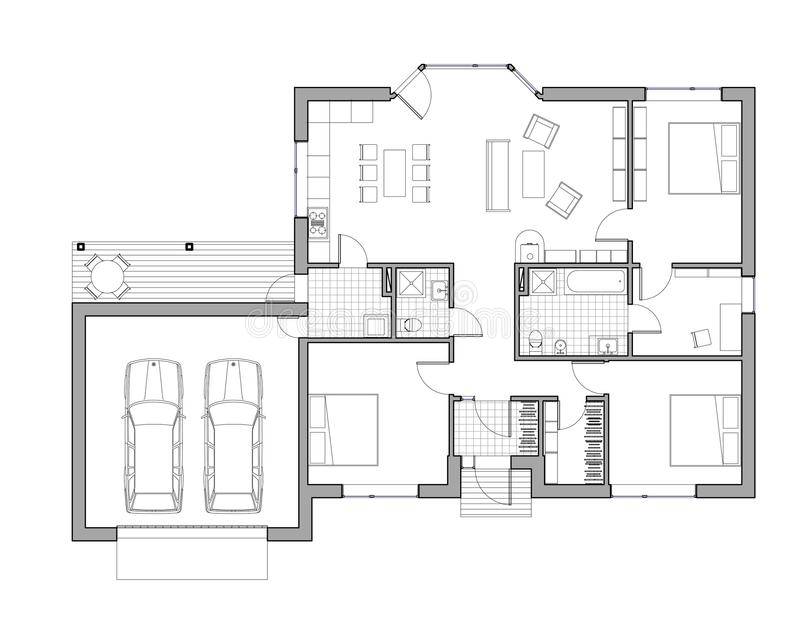 Drawing single family house stock illustration for Single family home floor plans