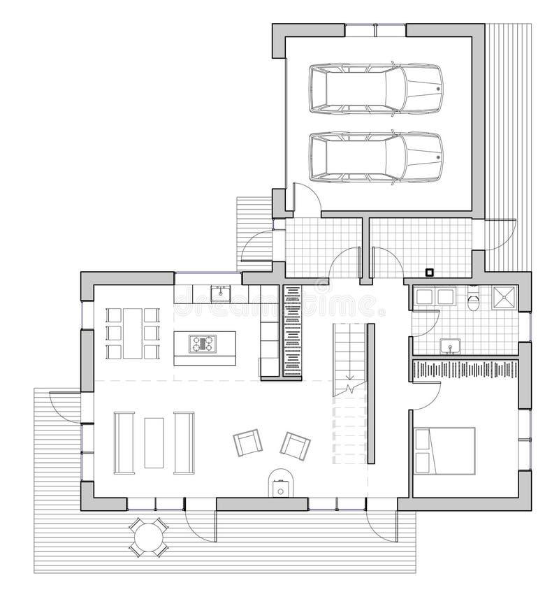 Drawing single family house stock illustration image - Casa unifamiliare dwg ...