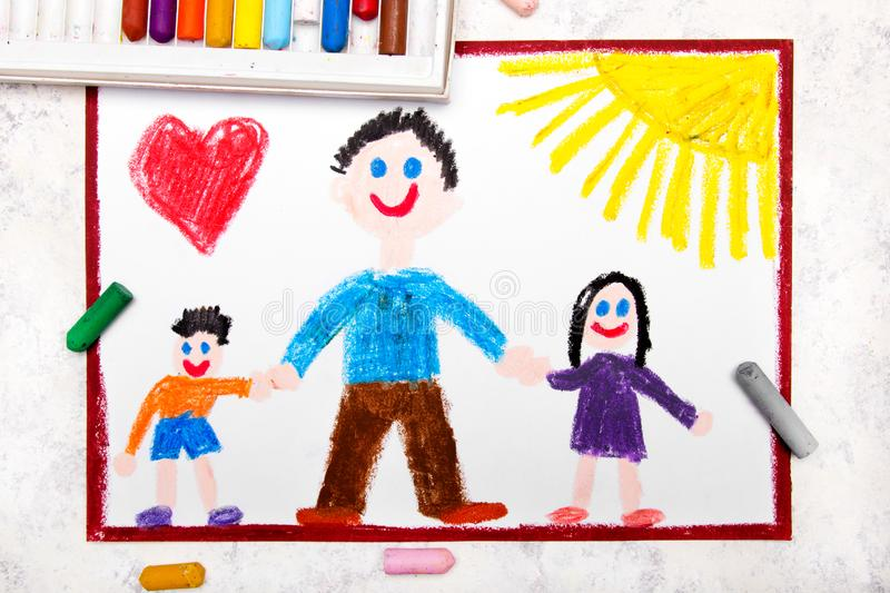 Drawing: Single parenting. Smiling family with father and her two kids. Colorful drawing: Single parenting. Smiling family with father and her two kids: daughter royalty free illustration
