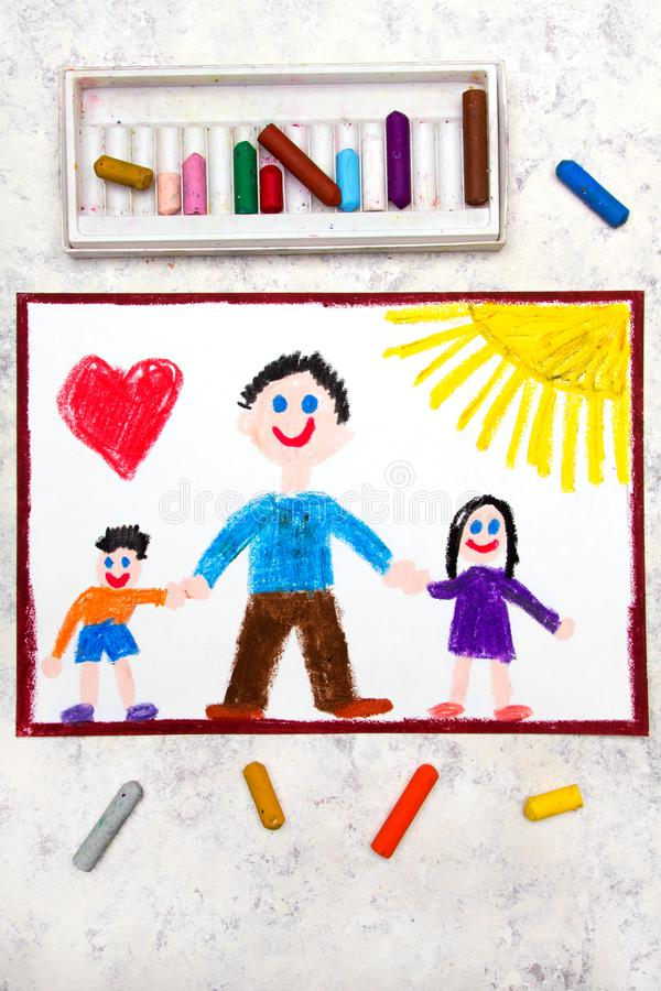 Drawing: Single parenting. Smiling family with father and her two kids. Colorful drawing: Single parenting. Smiling family with father and her two kids: daughter stock illustration