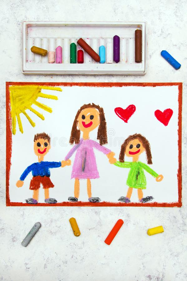 Drawing: Single parenting. Smiling family with mother and her two kids. Colorful drawing: Single parenting. Smiling family with mother and her two kids: daughter vector illustration