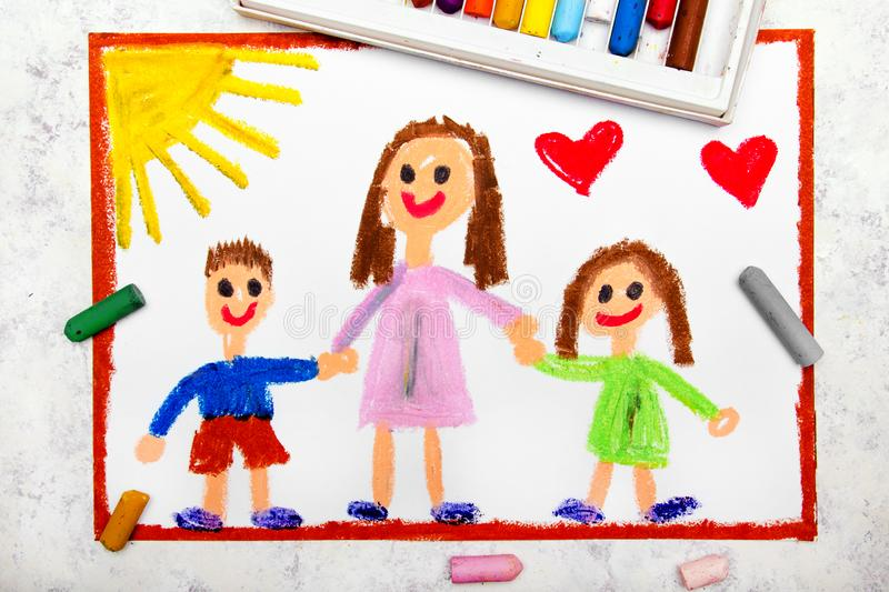 Drawing: Single parenting. Smiling family with mother and her two kids. Colorful drawing: Single parenting. Smiling family with mother and her two kids: daughter royalty free illustration