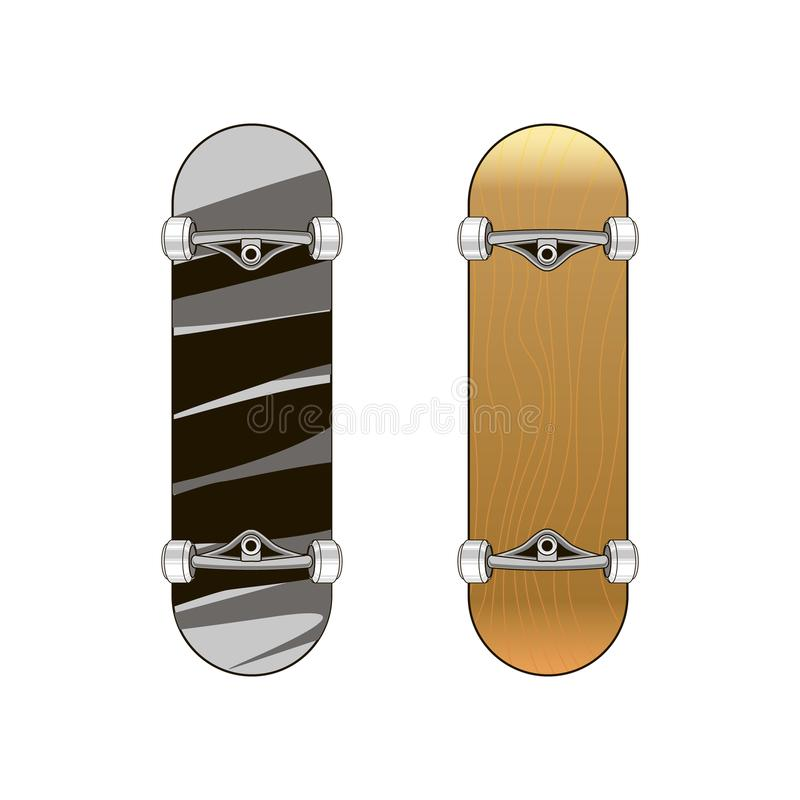 Drawing skateboard in two versions, with a pattern and wooden. Vector illustration vector illustration