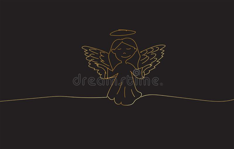 Drawing sketch of a Golden Angel Vector design royalty free stock images
