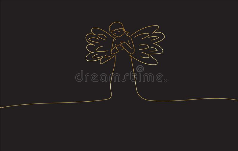 Drawing sketch of an Angel praying royalty free stock photos