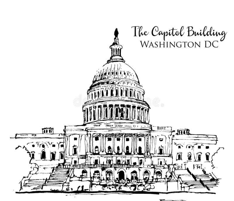 Drawing sketch illustration of the Capitol Building in USA vector illustration