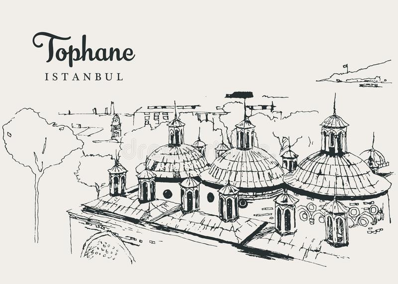 Drawing sketch illustration of Tophane-i Amire. An old Ottoman army building overlooking the Bosphorus stock illustration
