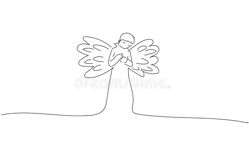 Drawing sketch of a Monochrome Angel Vector design royalty free stock photography