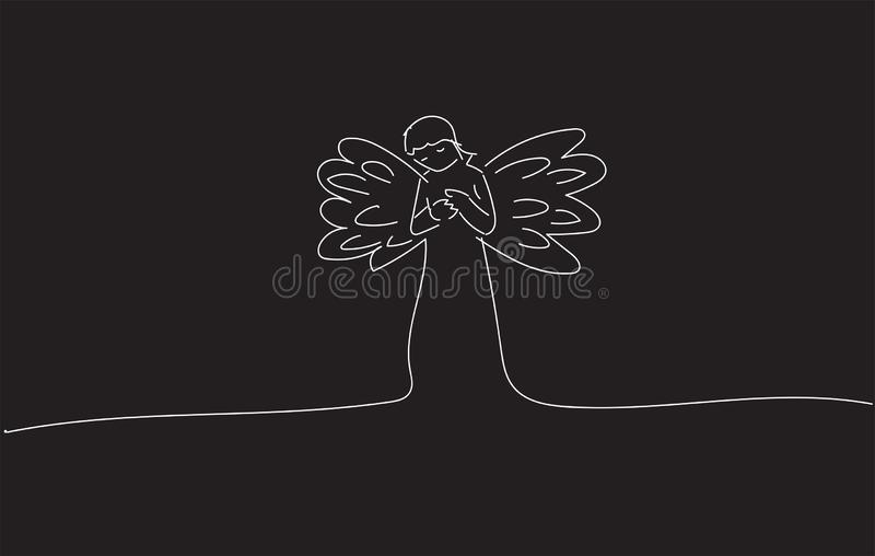 Drawing sketch of a Monochrome Angel Praying Vector design royalty free stock images