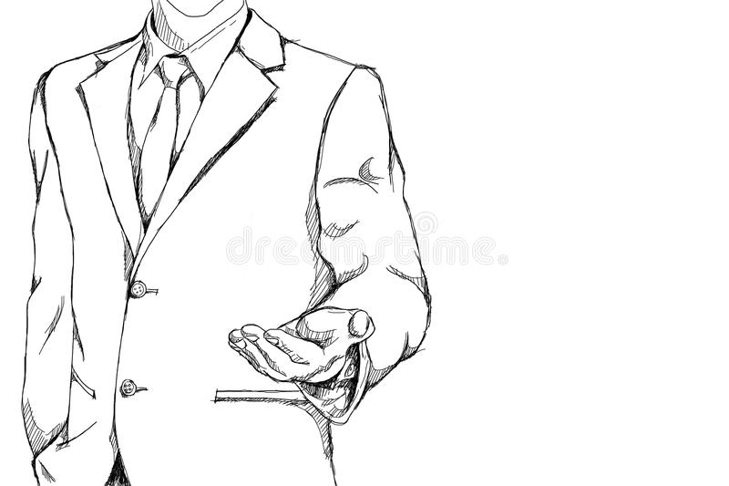 Drawing sketch simple line of business man with open palm hand action for invite meaning on friendly business vector illustration