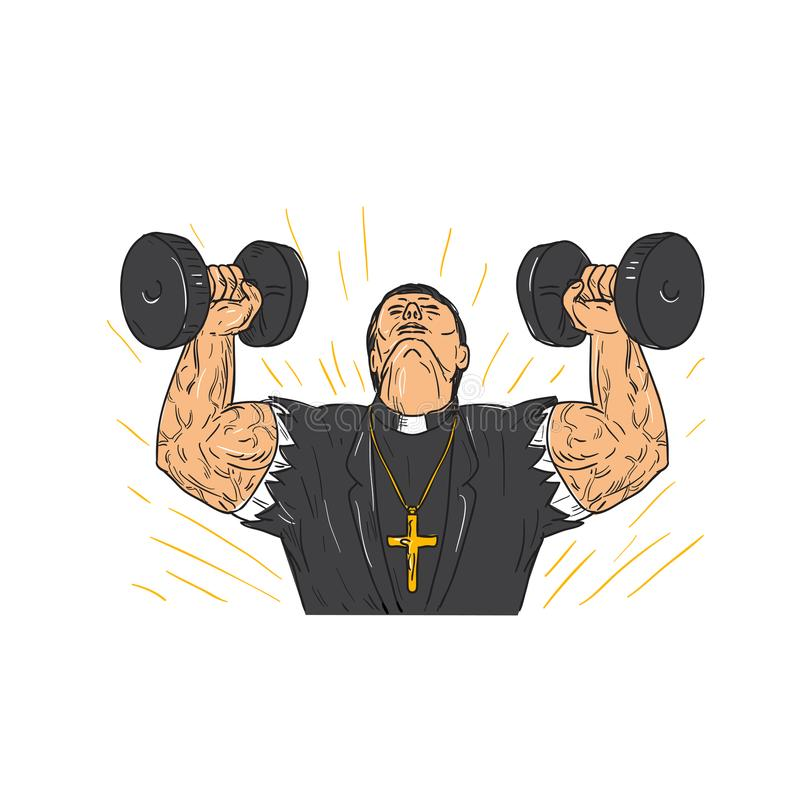 Ripped Priest Exercise Dumbbell Drawing. Drawing sketch style illustration of a ripped, buffed or jacked priest wering corss doing exercise using a pair of vector illustration