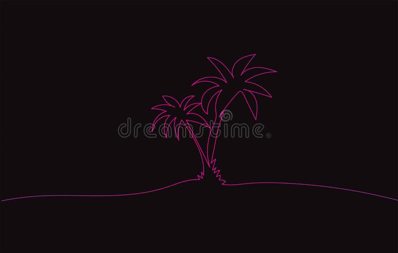 Drawing sketch of two pink coconut palm trees stock photo