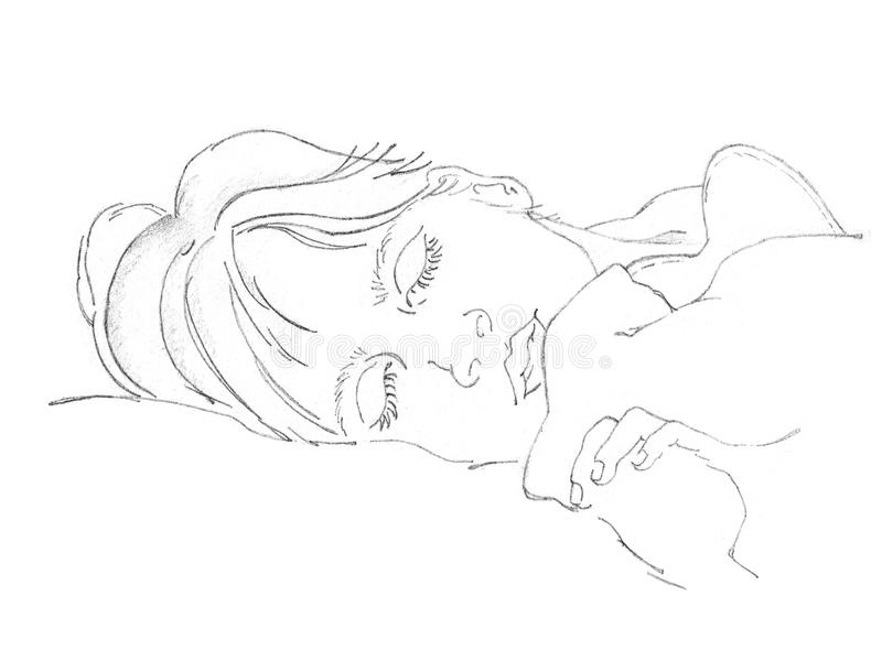 Drawing of sleeping person royalty free stock images