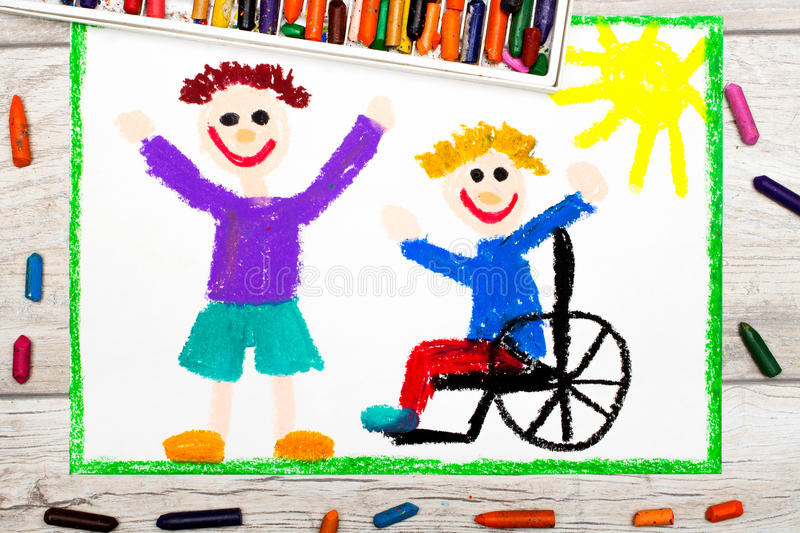 Drawing: Smiling boy sitting on his wheelchair. Disabled boy with a friend stock images