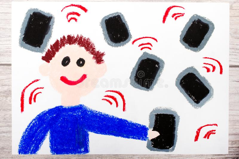 Drawing: A smiling boy surrounded by electronic devices, phones or tablets. Photo of colorful drawing: A smiling boy surrounded by electronic devices, phones or vector illustration