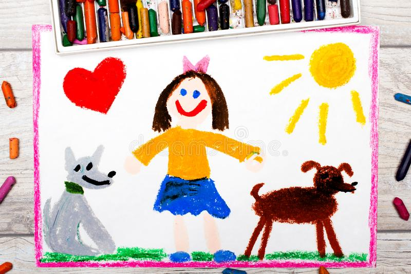 Drawing: Smiling little girl and her cute dogs stock illustration