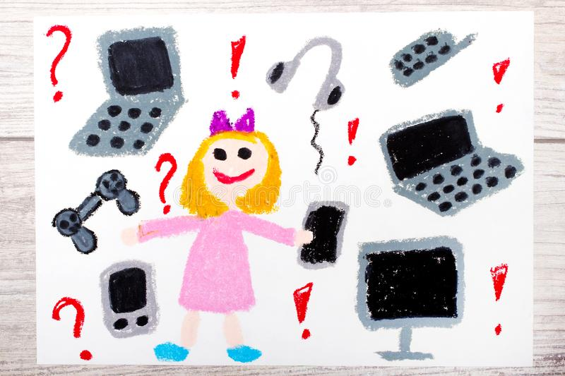 Drawing: smiling little girl surrounded by electronic devices, phones, computers and tablets. Photo of colorful drawing: smiling little girl surrounded by stock illustration