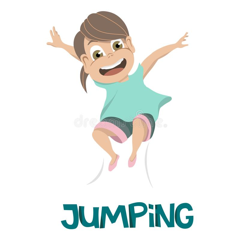 Drawing of smiling young girl in light blue shirt leaping into the air over JUMPING in dark blue text royalty free illustration
