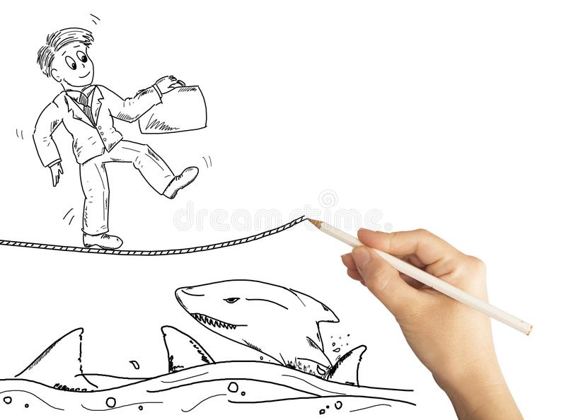 Drawing solution for problems royalty free illustration