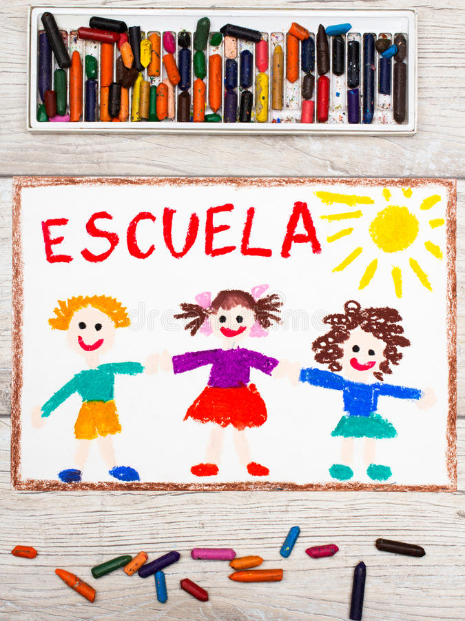 Drawing: Spanish word SCHOOL and happy children. stock photos