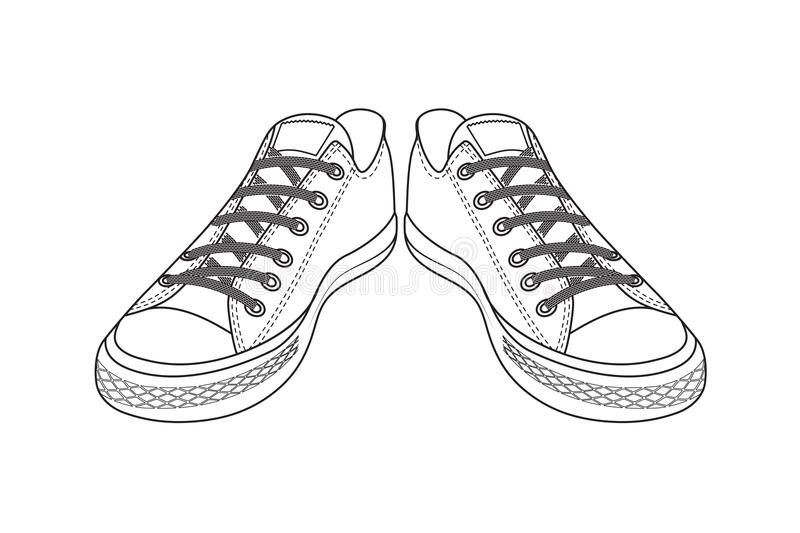 Drawing of sports shoes. youth easy footwear. On the image is presented drawing of sports shoes. youth easy footwear vector illustration