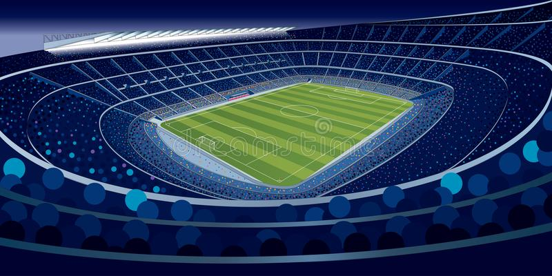 Drawing of a stadium full of people at night in blue tones with wide angle view in large format royalty free illustration