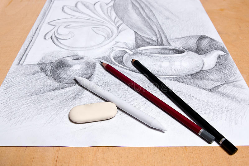 Drawing of still life by graphite pencil. Drawing of still life by graphite pencil with apple, tea infuser and plaster palm leaf. Graphite pencils and eraser on stock images