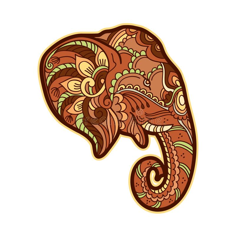 Drawing stylized elephant. Freehand sketch for adult anti stress coloring book. For adultpage with doodle and zentangle elements. Multicolor bright colors royalty free illustration