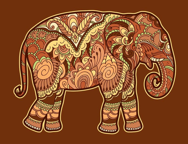 Drawing stylized elephant. Freehand sketch for adult anti stress coloring book. For adultpage with doodle and zentangle elements. Multicolor bright colors vector illustration