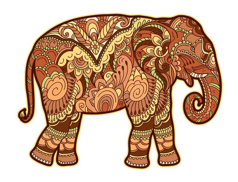 Drawing stylized elephant. Freehand sketch for adult anti stress coloring book. For adultpage with doodle and zentangle elements. Multicolor bright colors stock illustration