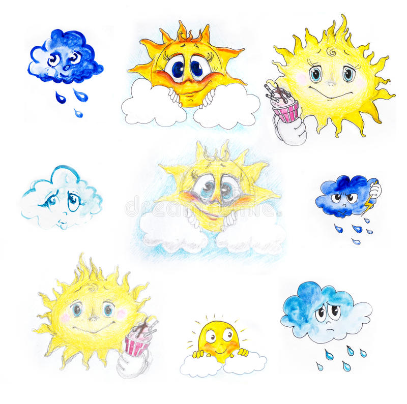 Drawing sun and cloud, weather royalty free illustration