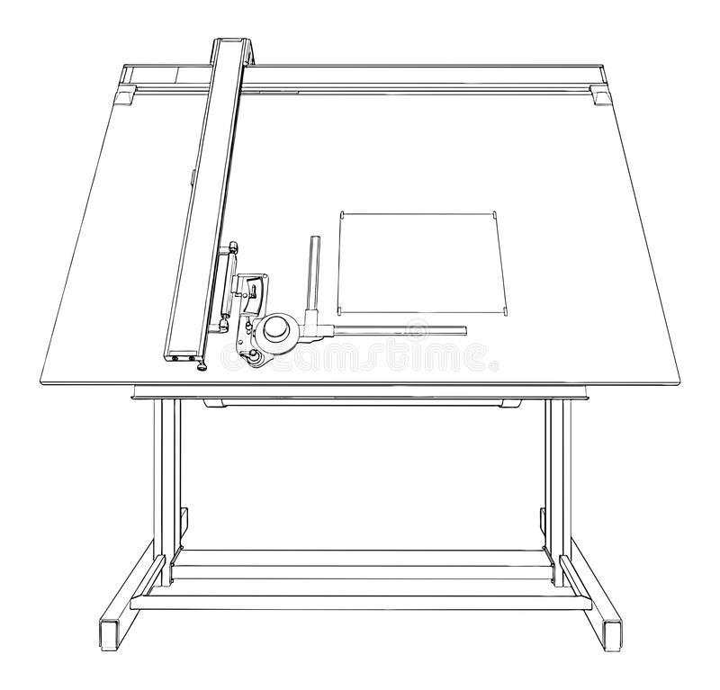 Line Drawing Table : Drawing table vector stock illustration of line