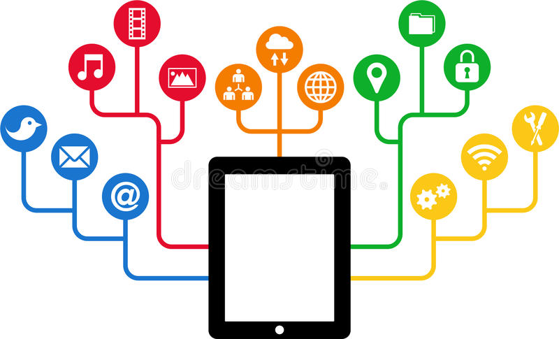 Tablet & Social Media Icons, Communication In The Global Computer Networks Stock Image