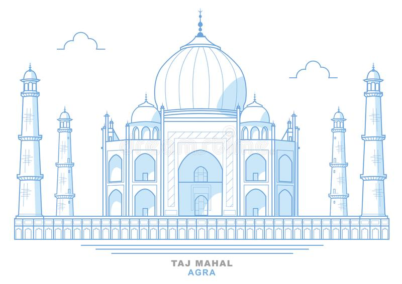 Drawing of the Taj Mahal, stylized, blue, mausoleum in the city of Agra, India vector illustration