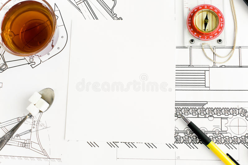 Download Drawing and tea stock photo. Image of pencil, draft, glasses - 12791790