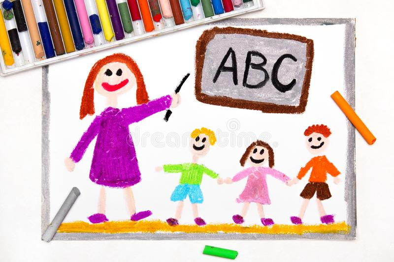 Drawing: teacher and students in the classroom. Teaching children the alphabet vector illustration