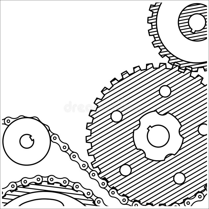Drawing technical .background from gears.style grunge royalty free illustration