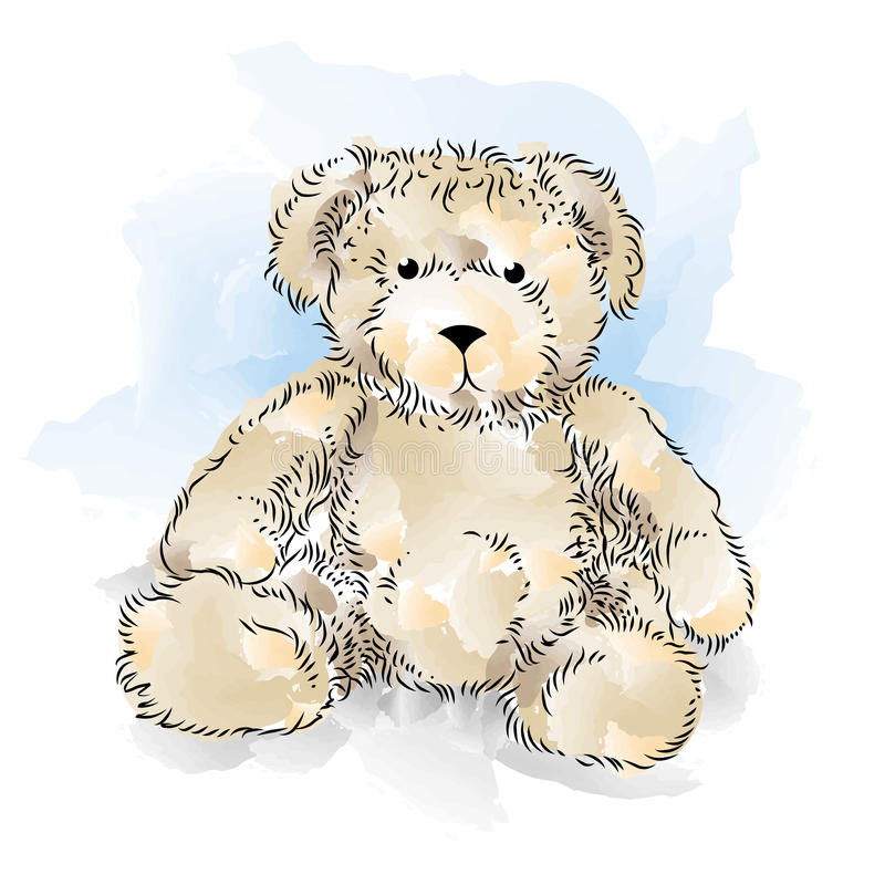 Drawing Teddy Bear royalty free illustration